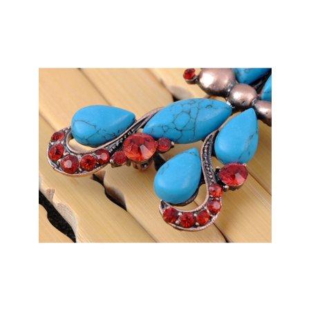 Faux Turquoise Ruby Crystal Rhinestone Vintage-like Dragonfly Fashion Pin Brooch