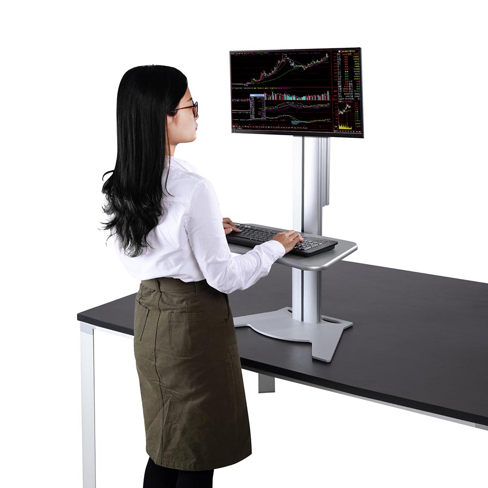 Single Monitor High Rise Sit-Stand Desk Converter Ergonomic Height Adjust Silver