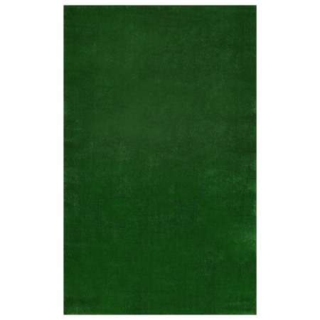 Ottomanson Evergreen Collection Indoor; Outdoor, Patio Artificial Solid Green Grass Turf Design Area or Runner Rugs