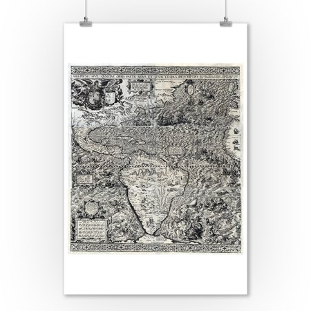 South and Part of North America - Panoramic Map (9x12 Art Print, Wall Decor Travel (Map Of North And South America Labeled)