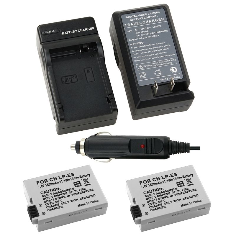 Insten 2 LP-E8 Battery   Charger for Canon Rebel T2 T5i T4i T3i T2i Kiss X5 X4 EOS 550D 600D 650D