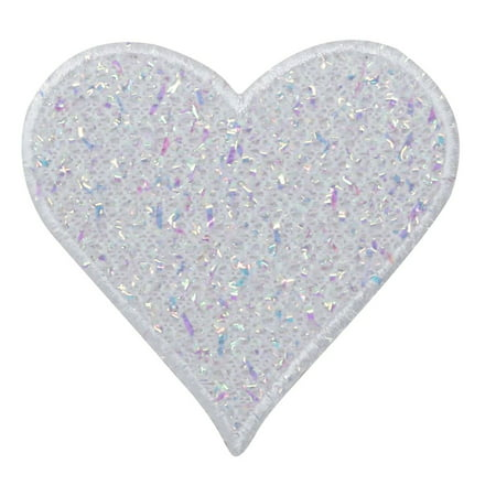 White Heart - Confetti Shimmery - Iron On Applique/ Embroidered Patch - Embroidered Heart
