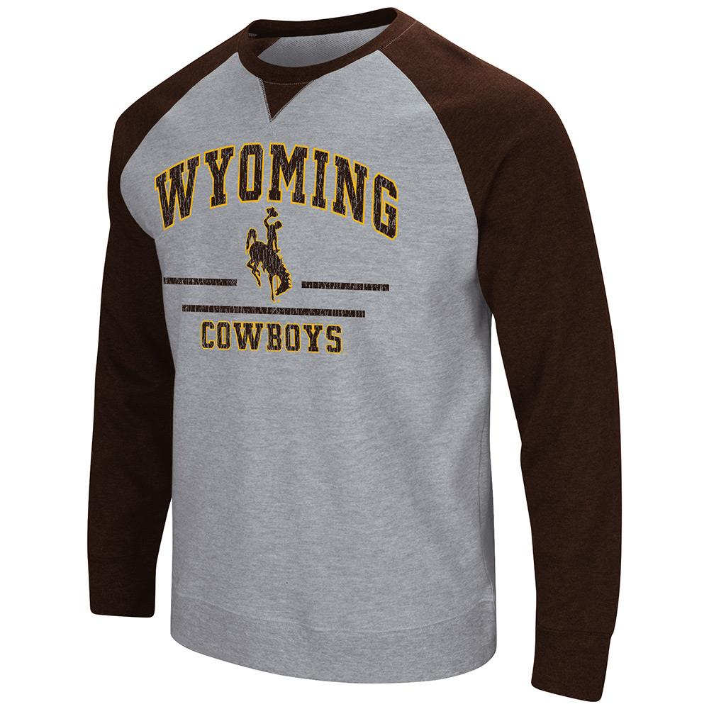 Mens NCAA Wyoming Cowboys Crew Neck Sweatshirt (Heather Grey) by Colosseum