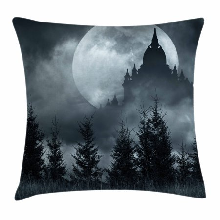Halloween Throw Pillow Cushion Cover, Magic Castle Silhouette over Full Moon Night Fantasy Landscape Scary Forest, Decorative Square Accent Pillow Case, 18 X 18 Inches, Grey Pale Grey, by Ambesonne](Halloween Nyc 18 And Over)