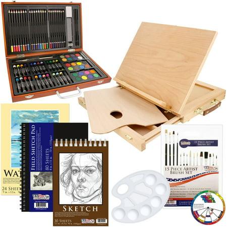 US Art Supply 82 Piece Deluxe Art Creativity Set in Wooden Case, Wood Desk Easel and BONUS 20 additional pieces - Deluxe (Discount Art Supplies Online)