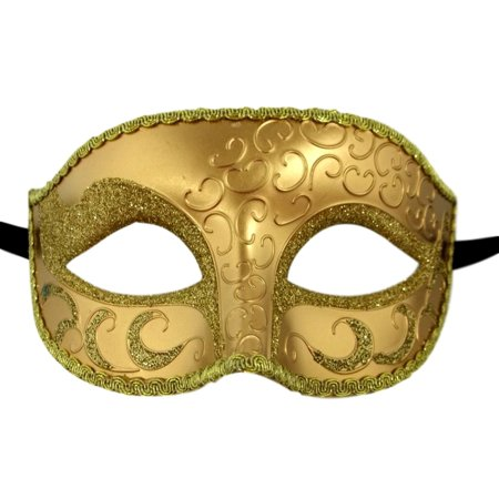 Gold Elegant Venetian Masquerade Glitter Fancy Dress Costume - Masquerade New Years Eve Party