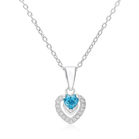 Halo Heart Pendant in Sterling Silver with March Simulated Aquamarine Birthstone & CZ (18 Inches)