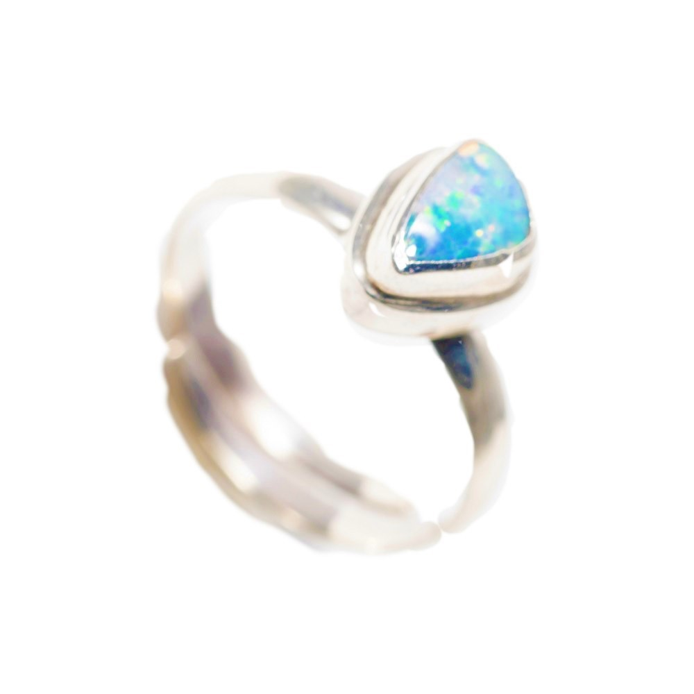 925 sterling silver ring free form stone ring Australian opal ring