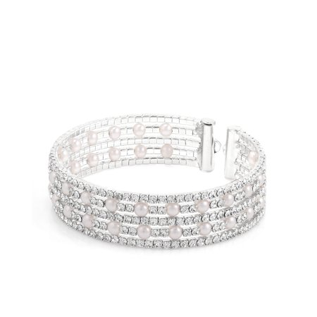 TAZZA WOMEN'S FAUX PEARL AND CRYSTAL 5 ROW SILVER STRETCH  BRACELETS