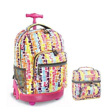 Sunrise Rolling Backpack & Corey Lunch bag Set (Squares Neon)