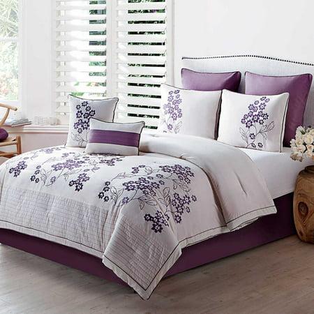 aurosa 8pc comforter set queen plum. Black Bedroom Furniture Sets. Home Design Ideas