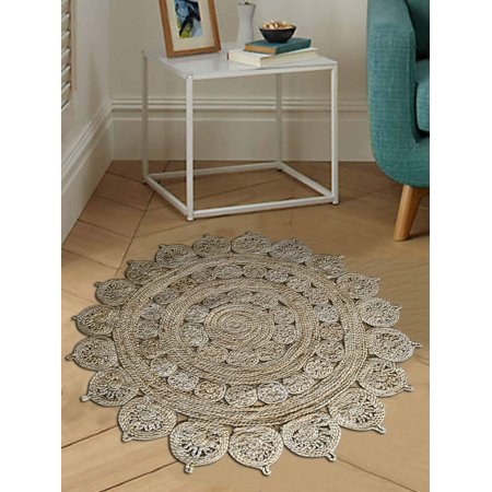 Rugsotic Carpets Hand Woven Jute 6'7''x6'7'' Round Eco-friendly Area Rug Oriental Cream