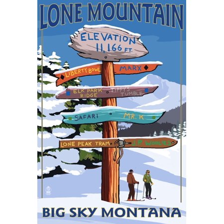 Big Sky, Montana - Lone Mountain - Ski Signpost Skiing Travel Advertisement Print Wall Art By Lantern