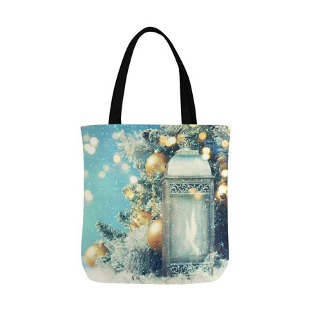 HATIART Christmas Lantern with Christmas Decoration on Snow Canvas Tote Bags Reusable Shopping Bags Grocery Bags Party Supply Bags for Women Men Kids - image 3 de 3