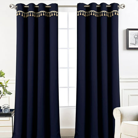 "DriftAway Darcy Tassel Trim Solid Thermal Blackout Grommet Window Curtains, Set of Two Panels, 52""x84""(navy)"
