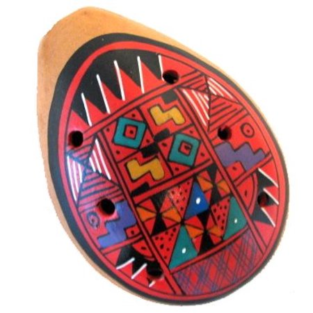 Single Large Hand Painted, Clay Fired Ocarina Whistle- Assorted Color