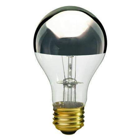 - Satco S3956 - 100 Watt Light Bulb - A19 - Clear Silver Bowl - 1,500 Life Hours - 960 Lumens - 130 Volt