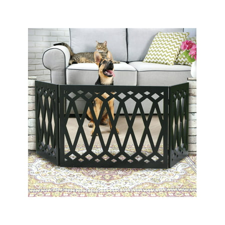 Etna 3 Panel Diamond Design Wood Pet Gate Decorative Black Tri Fold Dog Fence For Doorways Stairs Indoor Outdoor Pet Barrier 48 W X 19 Tall