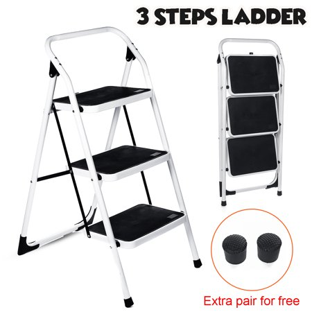 Kadell Foldable 3 Step Ladder Step Stool Equipment Non Slip Safety Tread Step Ladder Platform for Household Kitchen Cleaning Indoor, Outdoor, 330LB Load Capacity, Easy Storage