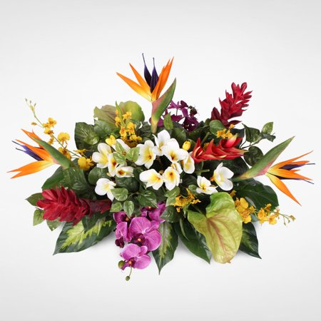 Bird Of Paradise Silk Flowers (Jenny Silks Orchids with Birds of Paradise, Hawaiin Ginger, Heliconia, Anthurium and Plumeria Tropical Arrangement on a Metal)