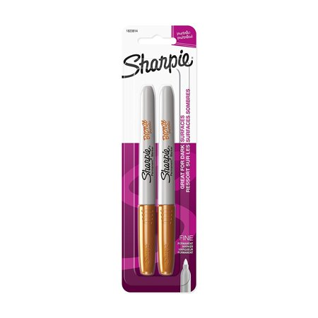 1823814 Metallic Fine Point Permanent Marker, Bronze, 2-Pack, Durable fine point tip produces thin, detailed lines on most surfaces. By Sharpie