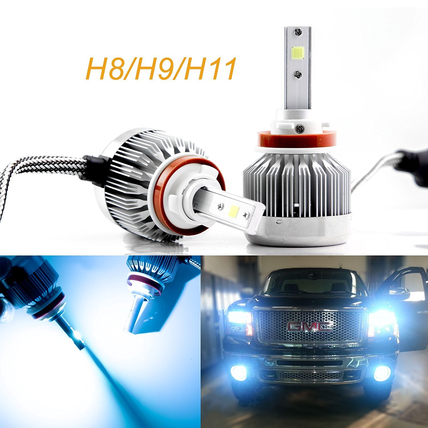 Xotic Tech H8 H9 H11 LED Headlight Bulbs, Ice Blue 8000K COB LED Headlight Conversion Kit For High / Low Beam Daytime Running Lights