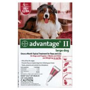 Advantage II Flea and Tick Topical Monthly Treatment for Large Dogs, 4 Treatments