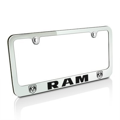 Dodge Ram Dual Logo Chrome Metal License Plate - Dodge Logo License Plate
