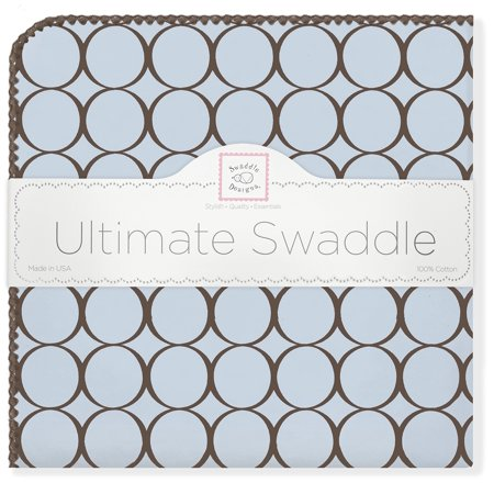 Swaddledesigns Ultimate Swaddle Blanket, Made In Usa, Premium Cotton Flannel, Brown Mod Circles On Pastel Blue - image 1 of 3