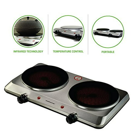 Infrared Sear Zone Burner (Ovente Countertop Infrared Burner – 1500 Watts – Ceramic Double Plate Cooktop with Temperature Control, Non-Slip Feet – Indoor/Outdoor Portable Electric Stove – Brushed Stainless Steel (BGI202S) )