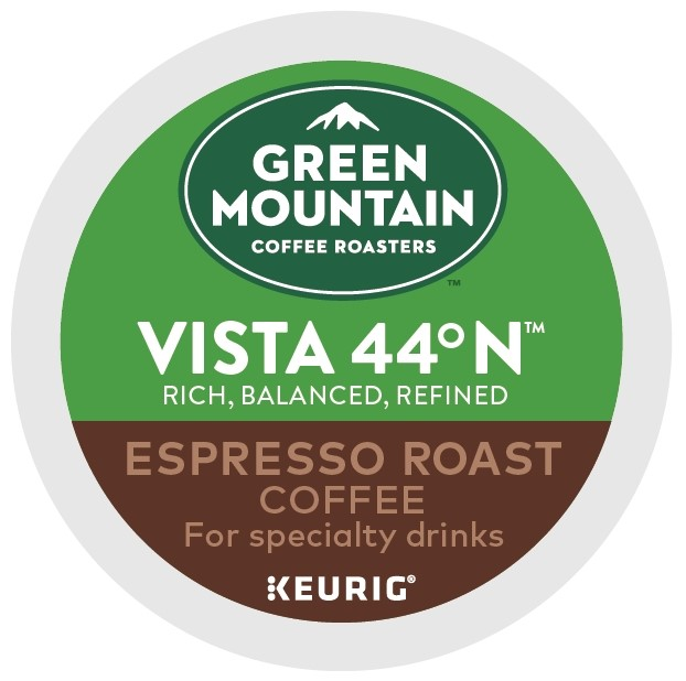 (2 Pack) Green Mountain Coffee Roasters Roasters Vista 44 N Espresso Roast K-Cup Coffee Pods, Makes Delicious Latte or Cappuccino Beverages, 6 Count