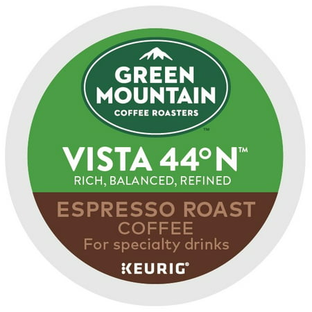 (2 Pack) Green Mountain Coffee Roasters Roasters Vista 44 N Espresso Roast K-Cup Coffee Pods, Makes Delicious Latte or Cappuccino Beverages, 6