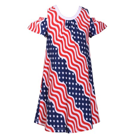 Girls Patriotic Wavy Flag Cold Shoulder Dress 4th of July 4T