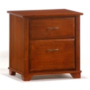Cherry Finished Nightstand w Two Drawers & Silver Tone Handles