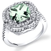 2.00 Carats Cushion Cut Green Amethyst Cocktail Ring in Sterling Silver