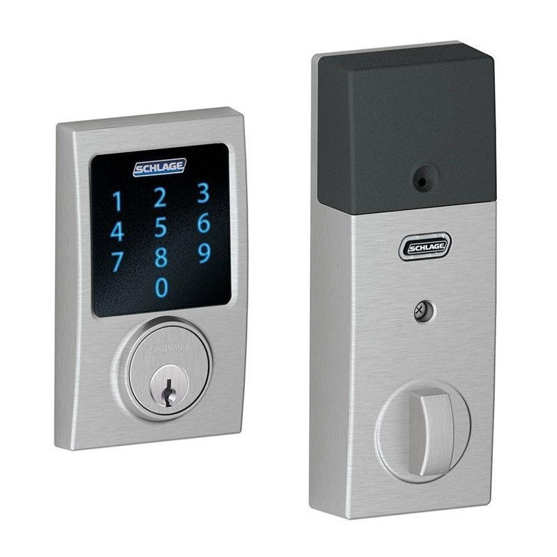 Connect Century Satin Chrome Touchscreen Deadbolt with Alarm