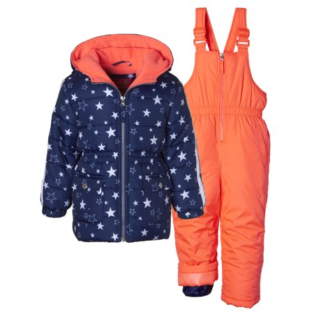 Metallic Star Print Puffer Jacket Coat & Snowbib, 2-Piece Snowsuit
