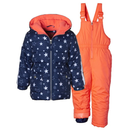 Winter Snowsuit (Metallic Star Print Puffer Jacket Coat & Snowbib, 2-Piece Snowsuit )