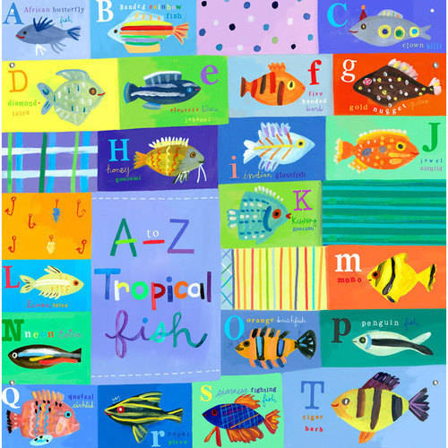 Oopsy Daisy - A-Z Tropical Fish Canvas Wall Mural 42x32, Jill McDonald
