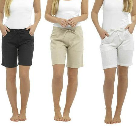 Ladies Shorts High Waist Short Loose Pants Women Pants Summer Plus Size Beige Size M Black Short Pants