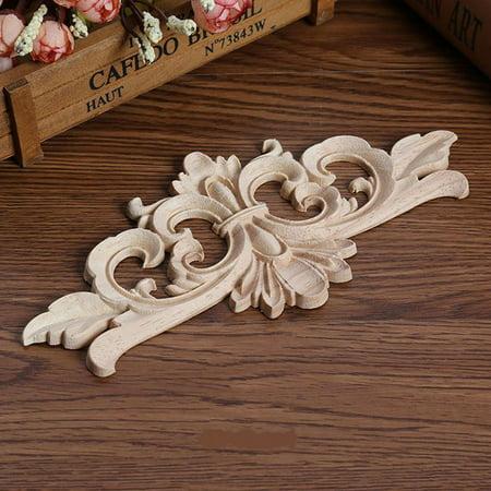 European Style Wood Carved Corner Applique Unpainted Furniture Decoration