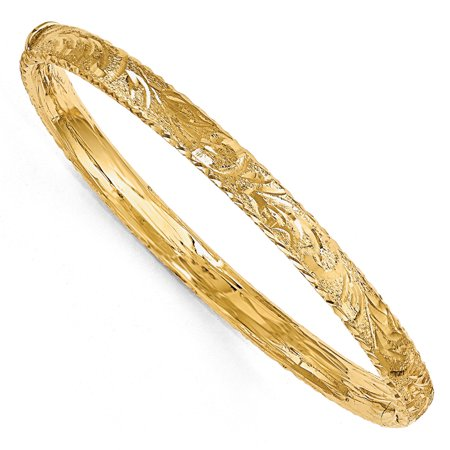 6mm 14k Yellow Gold Textured Diamond Cut Hinged Bangle