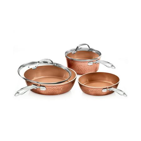 Gotham Steel 5 Piece Hammered Cookware Set, Non-stick coating, Dishwasher Safe, Oven Safe