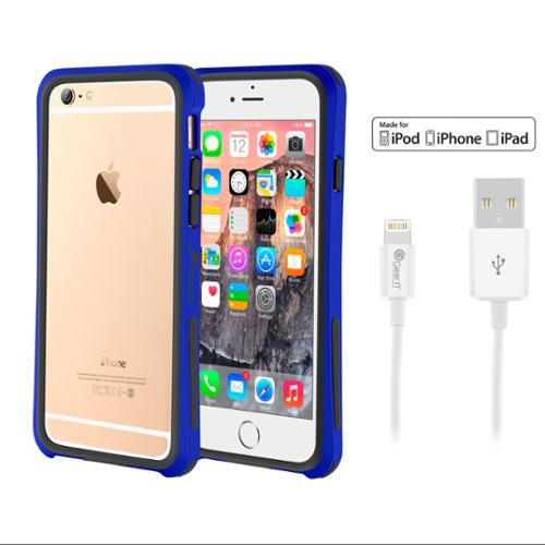 iPhone 6 Case Bundle (Case + Cable), roocase iPhone 6 4.7 Linear Bumper Open Back with Corner Edge Protection Case Cover with White 3ft Lightning Cable for Apple iPhone 6 4.7-inch, Dark Blue