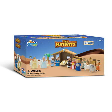 Nativity Playset for Children - 19 Pieces by BibleToys - Includes Mary, Joseph, Baby Jesus - Christmas Toys for (Images Of The Virgin Mary And Baby Jesus)