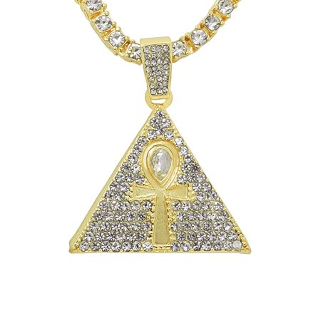 "14K Gold Plated Iced Out Hip Hop Bling Egyptian Pyramid With Ankh Cross Pendant 1 Row Stones Tennis Chain 16"" Necklace Choker Chain"