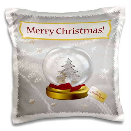 3dRose Snow Globe with Deer, Tree, and Snowflakes, Merry Christmas To My Granddaughter, Pillow Case, 16 by (Deer Snowflake)