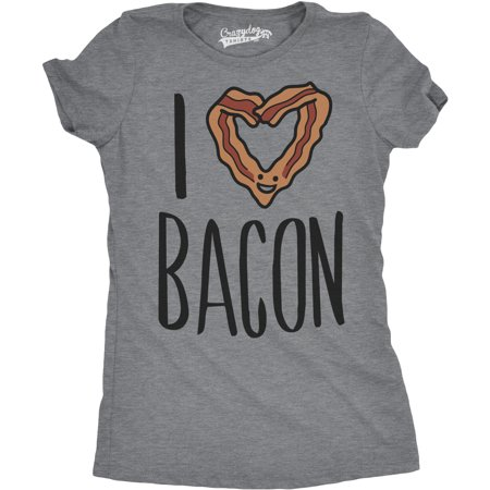 Womens Scented Ink I Heart Bacon Funny Bacon Smelling Scratch And Sniff T -