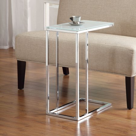 Metal Accent Table with Tempered Glass, Chrome