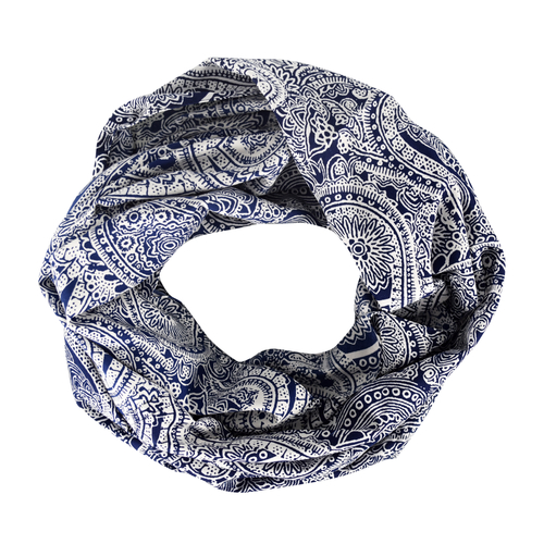 Peach Coutue Paisley Print Infinity Loop Fashion Scarf White Navy